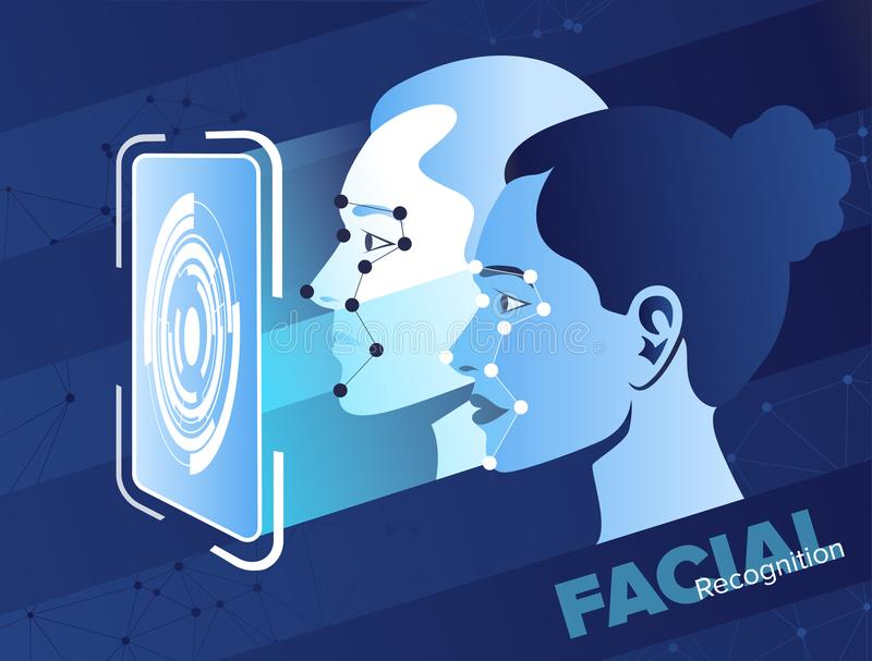 Facial recognition system. Smartphone scans a person face. Biometric identification. Facial recognition system concept. Mobile app for face recognition vector illustration
