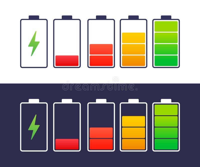 Smartphone scaricato e completamente caricato della batteria Insieme degli indicatori di livello della carica della batteria Illu illustrazione di stock