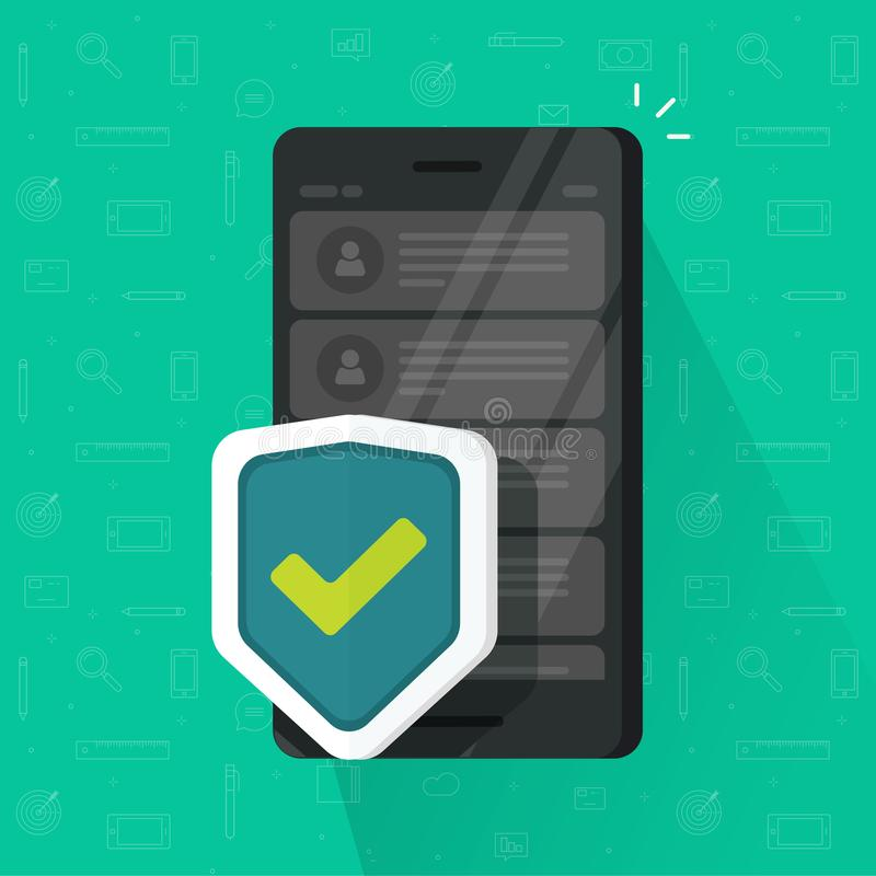 Smartphone-schild vectorillustratie, vlak beeldverhaal van mobiele telefoon met veiligheidsbescherming, concept cellphone vector illustratie