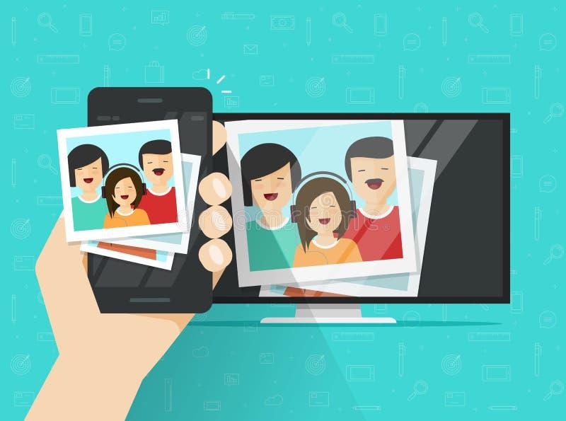 Smartphone schloss an Fernsehen an, das drahtlos Fotovektorillustration zeigt, flache Verbindung des Karikaturhandys zu geführt lizenzfreie abbildung