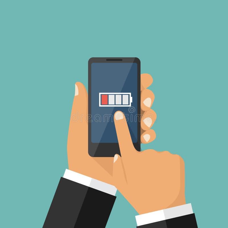 Smartphone-schwache Batterie lizenzfreie abbildung