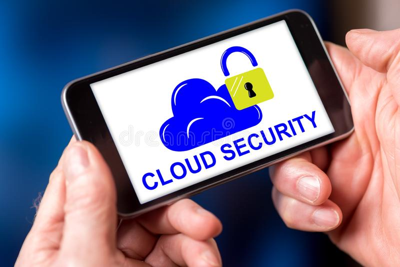 Cloud security concept on a smartphone. Smartphone screen displaying a cloud security concept stock images