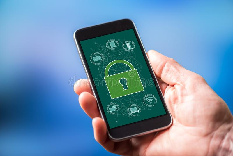 Cyber security concept on a smartphone. Smartphone screen displaying a cyber security concept royalty free stock photos