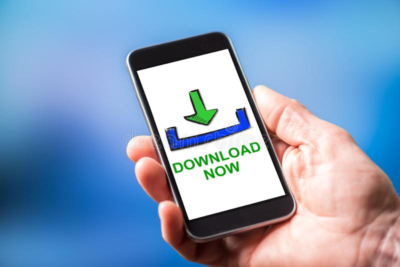 Download concept on a smartphone. Smartphone screen displaying a download concept stock image