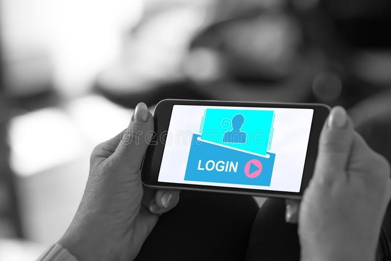Login concept on a smartphone royalty free stock photography
