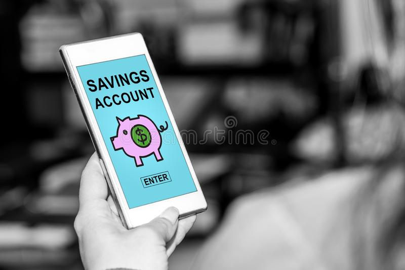 Savings account concept on a smartphone. Smartphone screen displaying a savings account concept stock photo