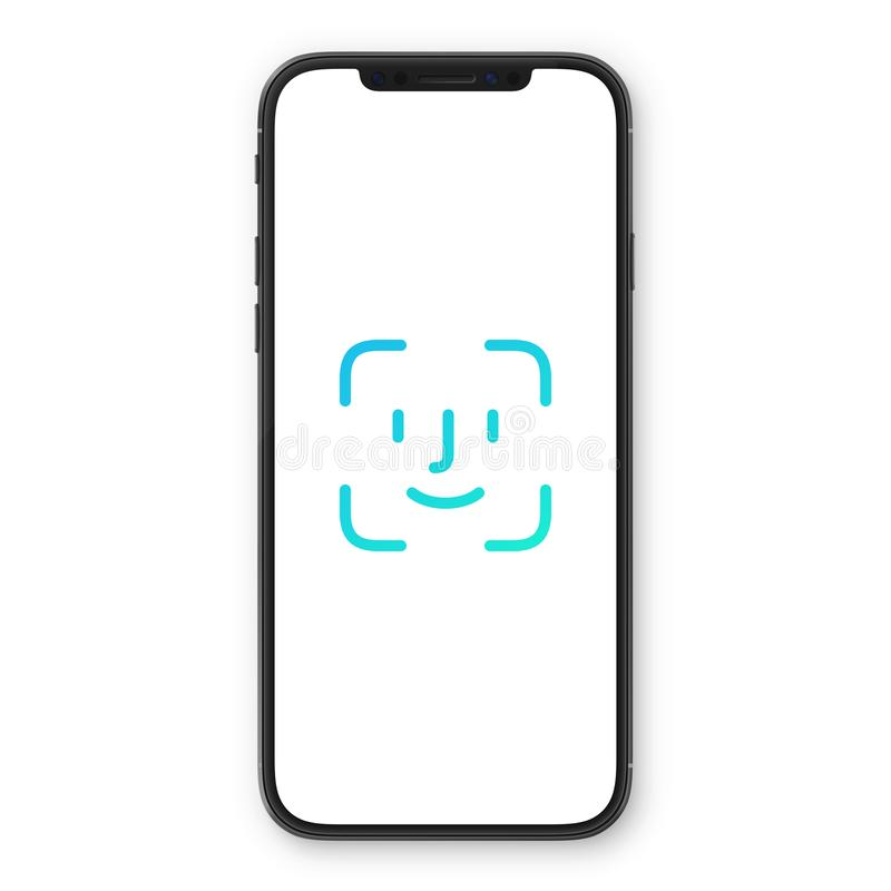 Smartphone with screen Face password, identification icon. Facial recognition scan. Face Security royalty free illustration