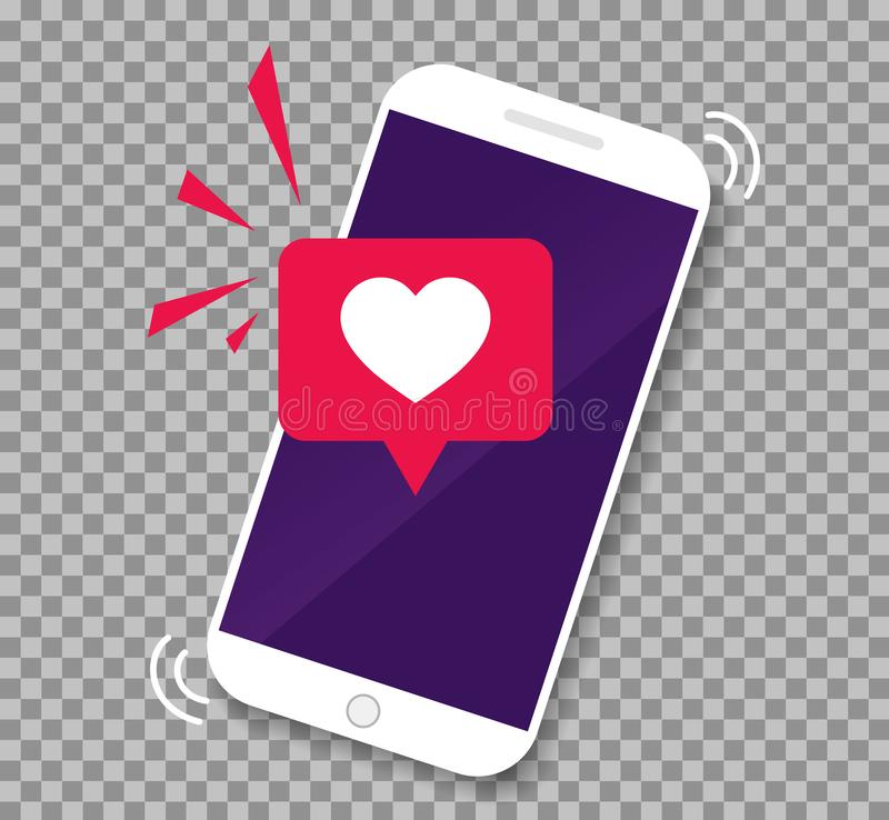 Smartphone screen with get message of heart emoji speech bubble.Phone app with icon like. Mobile call with love heart. vector royalty free illustration