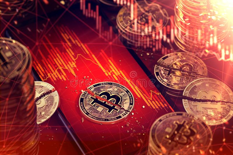 Smartphone screen with stock-market diagram in red color and broken Bitcoin laying on the top of it. Low revenues of. Cryptocurrencies concept. 3D render vector illustration