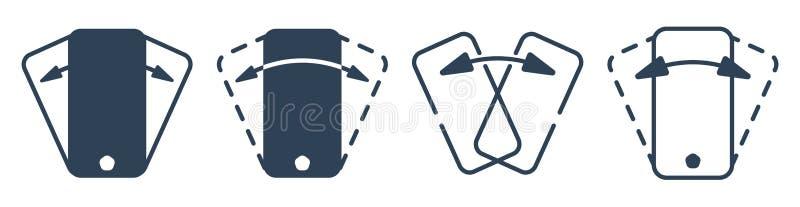 Smartphone secouant l'ensemble d'icône de vecteur d'ensemble illustration libre de droits
