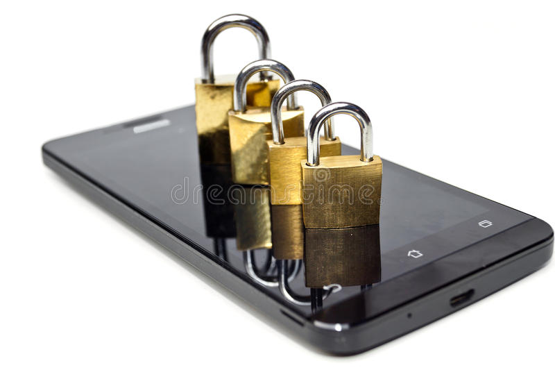 Smartphone security breach. Open security locks on a smartphone / Smartphone security breach stock photos