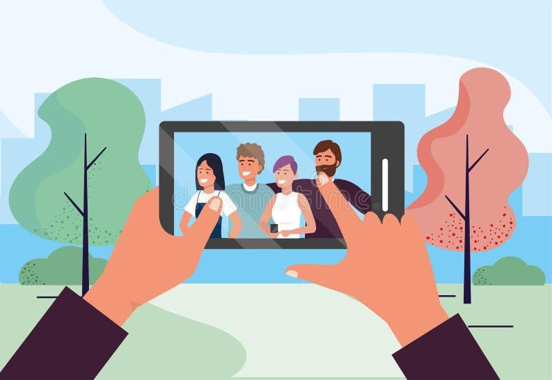Smartphone selfie technologia z ?miesznymi lud?mi przyjaci?? royalty ilustracja