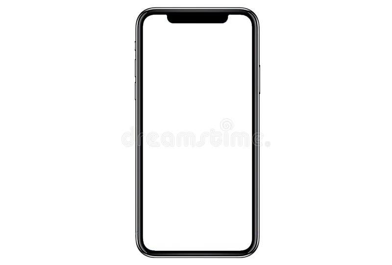 Smartphone semblable aux xs d'iphone maximum avec l'?cran blanc vide pour le plan d'investissement de vente d'affaires globales d photographie stock