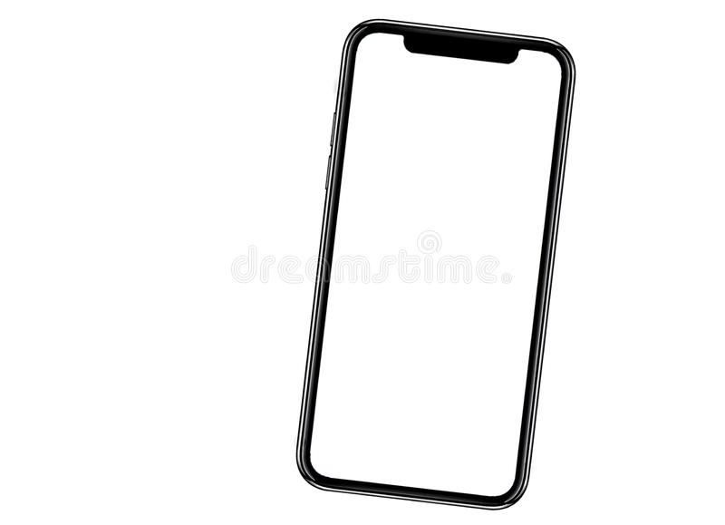 Smartphone semblable aux xs d'iphone maximum avec l'?cran blanc vide pour le plan d'investissement de vente d'affaires globales d photos stock