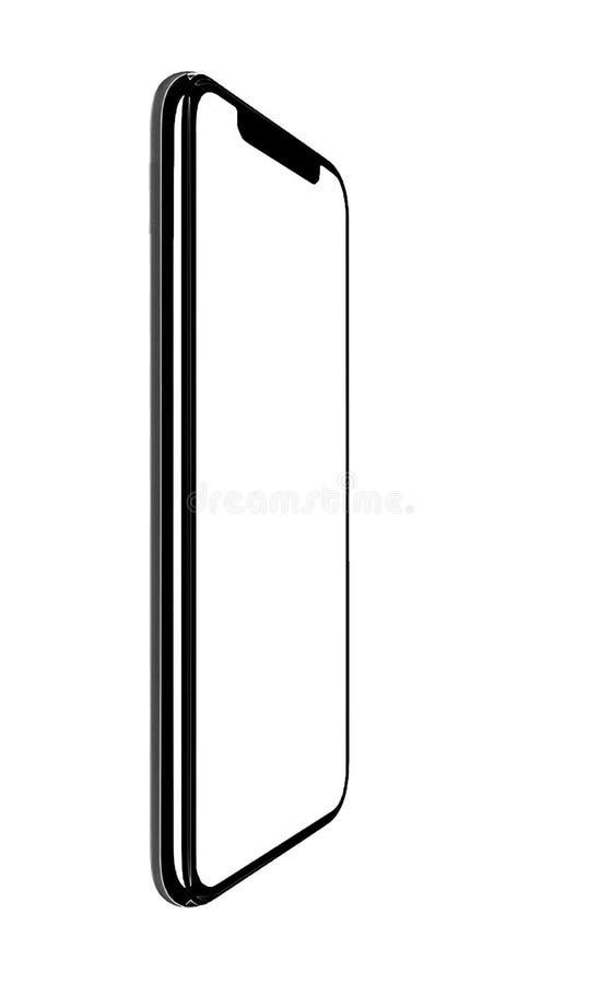 Smartphone semblable aux xs d'iphone maximum avec l'?cran blanc vide pour le plan d'investissement de vente d'affaires globales d photographie stock libre de droits