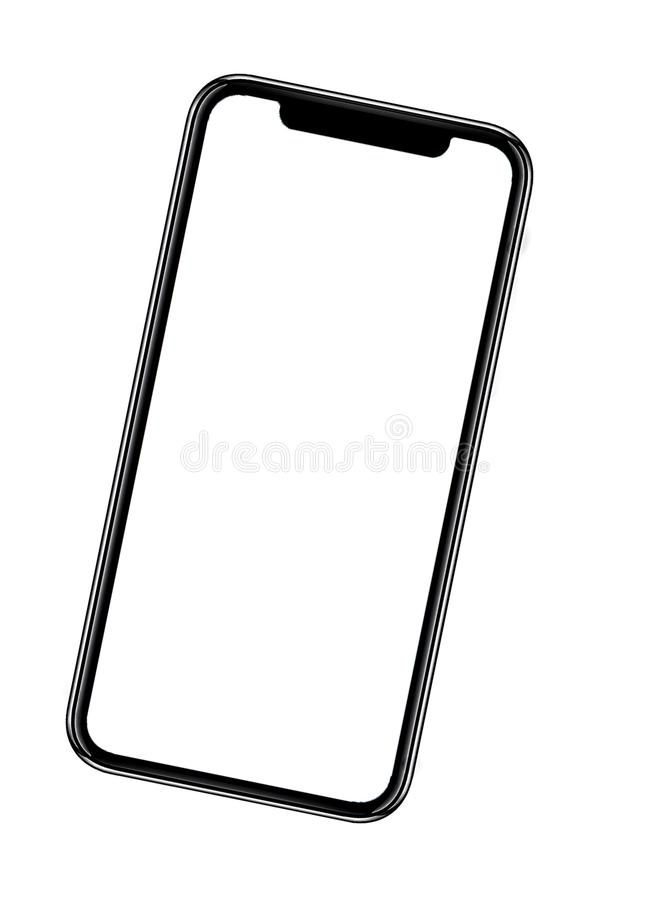 Smartphone semblable aux xs d'iphone maximum avec l'?cran blanc vide pour le plan d'investissement de vente d'affaires globales d photo stock