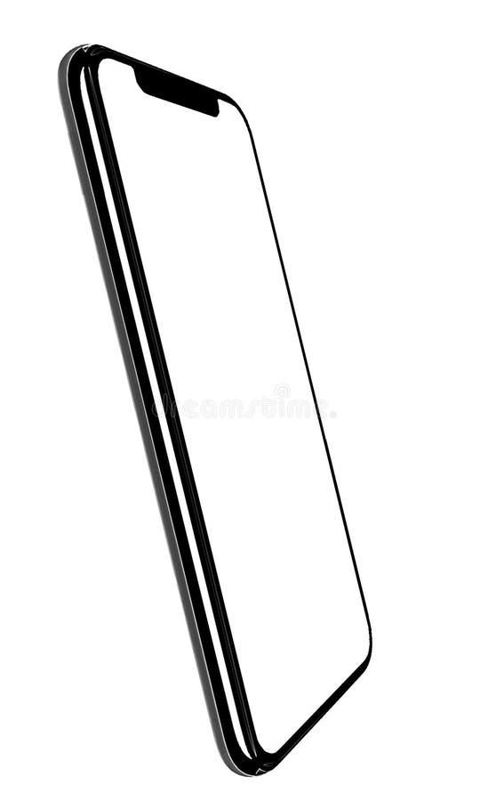 Smartphone semblable aux xs d'iphone maximum avec l'?cran blanc vide pour le plan d'investissement de vente d'affaires globales d images stock
