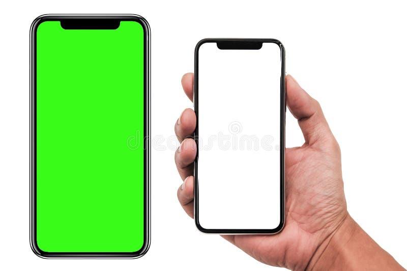 Smartphone semblable aux xs d'iphone maximum avec l'écran blanc vide pour le plan marketing d'affaires globales d'Infographic, mo image stock