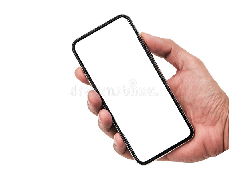 Smartphone semblable aux xs d'iphone maximum avec l'écran blanc vide pour le plan marketing d'affaires globales d'Infographic, mo image libre de droits