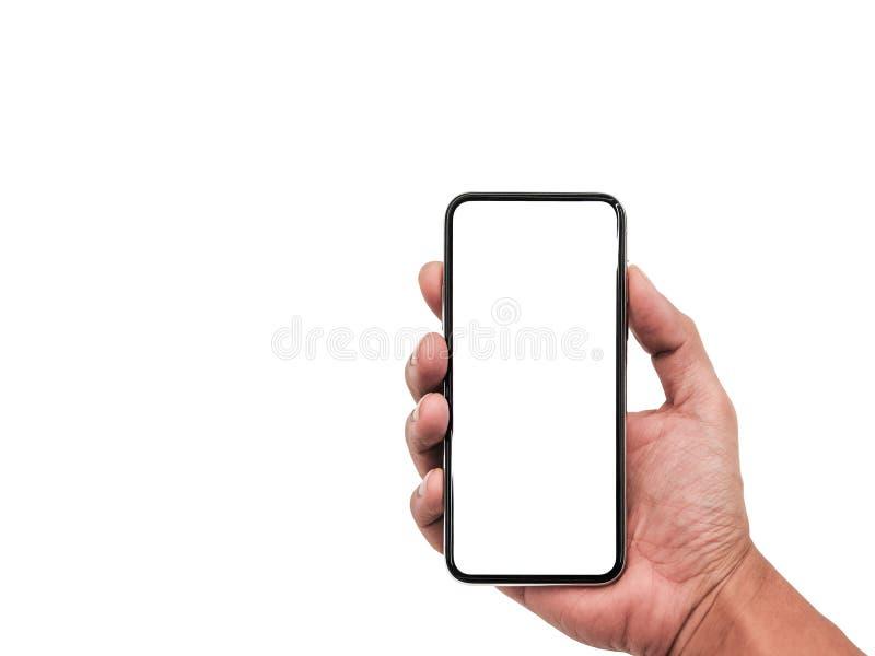 Smartphone semblable aux xs d'iphone maximum avec l'écran blanc vide pour le plan marketing d'affaires globales d'Infographic, mo photos stock