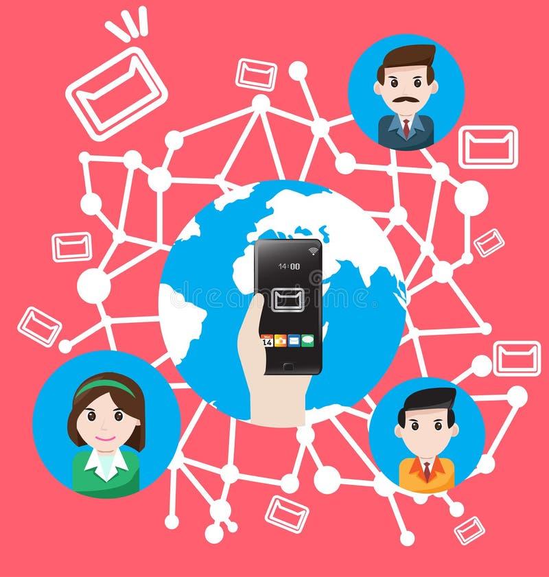 Smartphone send email the world marketing stock illustration