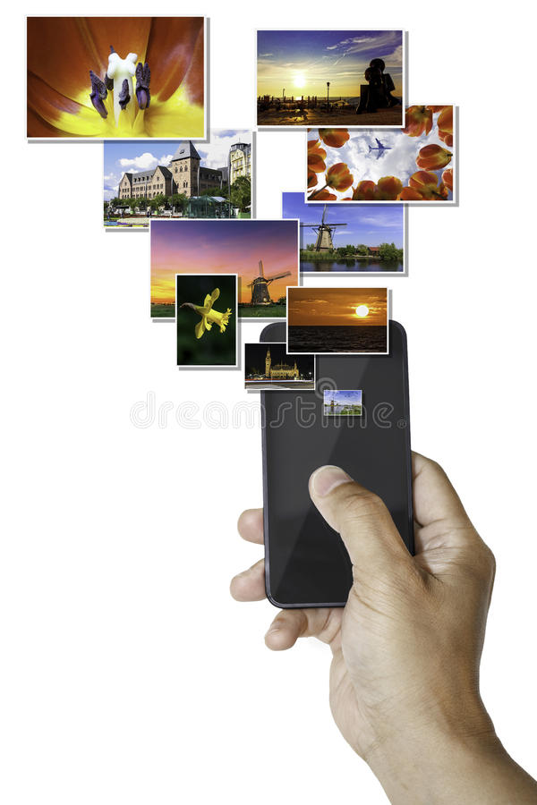 Smartphone sending pictures royalty free stock photo