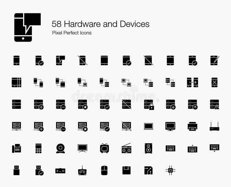 Smartphone, servidores, y sistema de los iconos de la web de los dispositivos de hardware stock de ilustración
