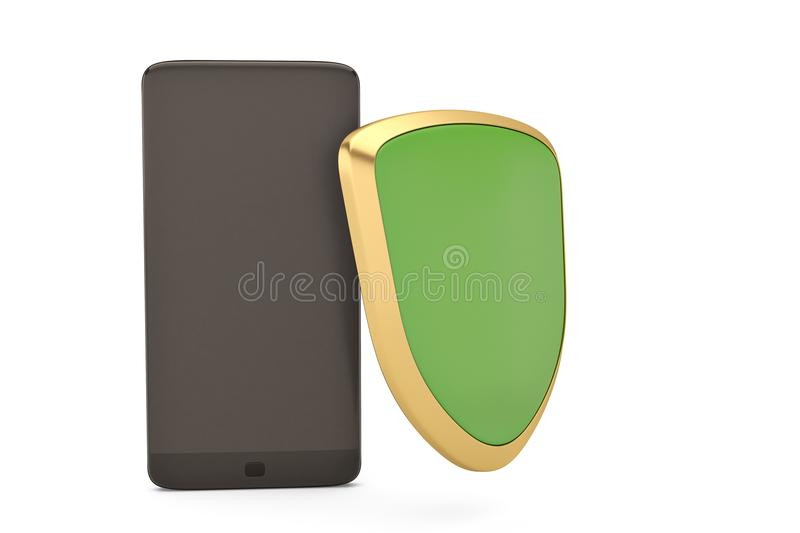 Smartphone and shield on white security concept.3D illustration. stock illustration