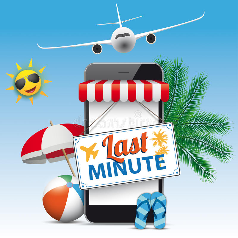 Smartphone Shop Marquee Last Minute Flight. Black smartphone with red marquee, funny sun, sunshade, jet and text Last Minute stock illustration