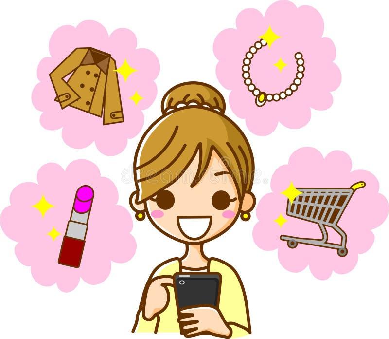 Download Smartphone shopping stock illustration. Image of female - 22272473