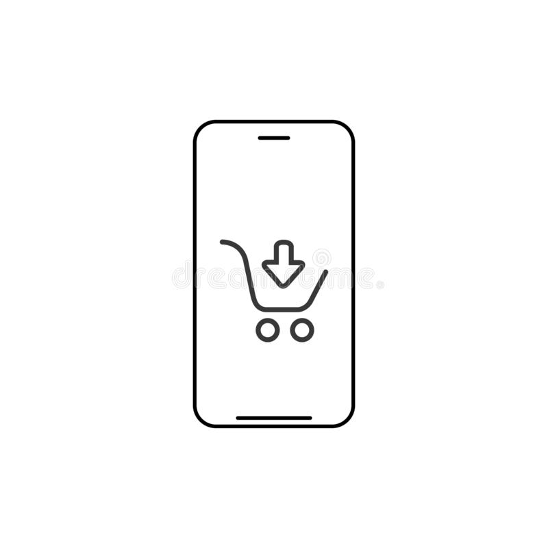 Smartphone shopping app linear icon. Thin line illustration. Smart phone with shopping cart contour symbol. Vector illustration royalty free illustration