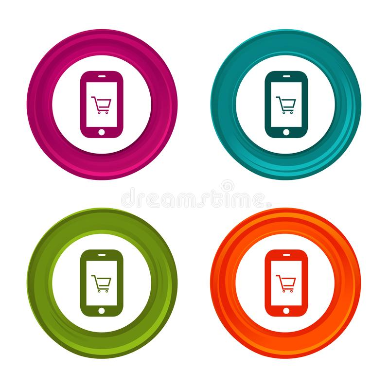 Smartphone shoppingsymboler App-tecken Shoppingsymbol Färgrik rengöringsdukknapp med symbolen stock illustrationer