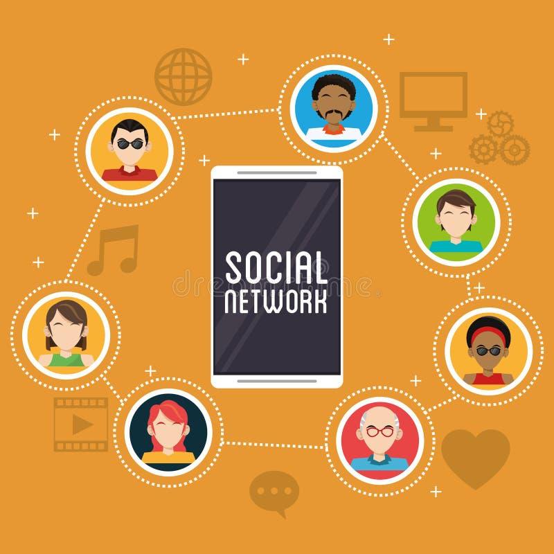 Smartphone sieci ogólnospołeczna społeczność app royalty ilustracja
