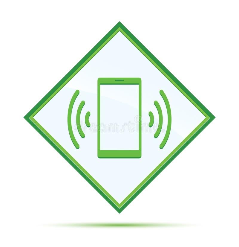 Smartphone sieci sygnału ikony abstrakta nowożytnej zieleni diamentowy guzik ilustracja wektor