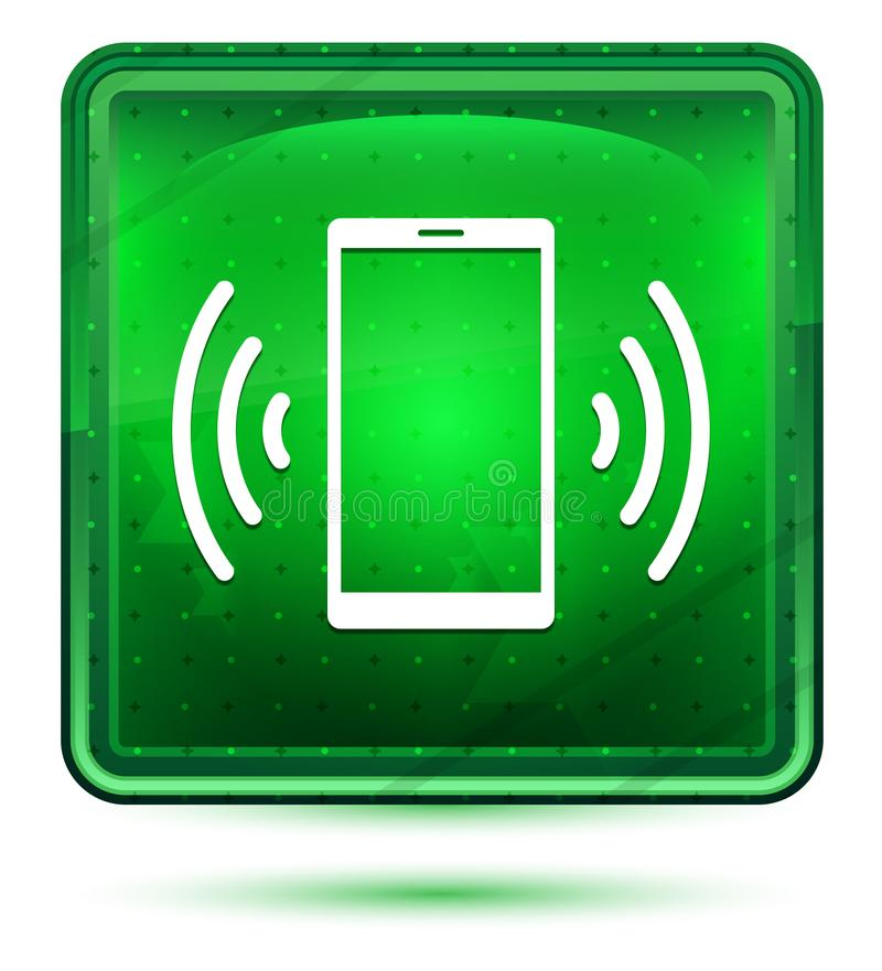 Smartphone sieci sygnału ikony neonowy jasnozielony kwadratowy guzik royalty ilustracja