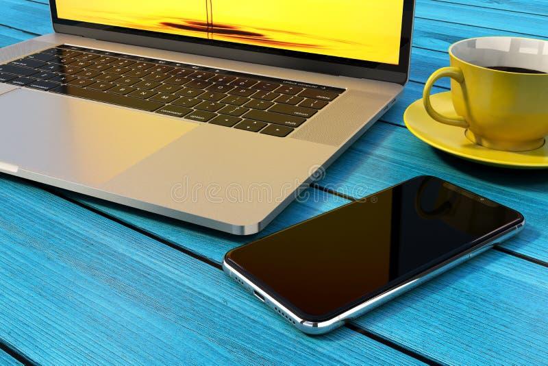 Smartphone similar ao iPhone X, laptop, café foto de stock