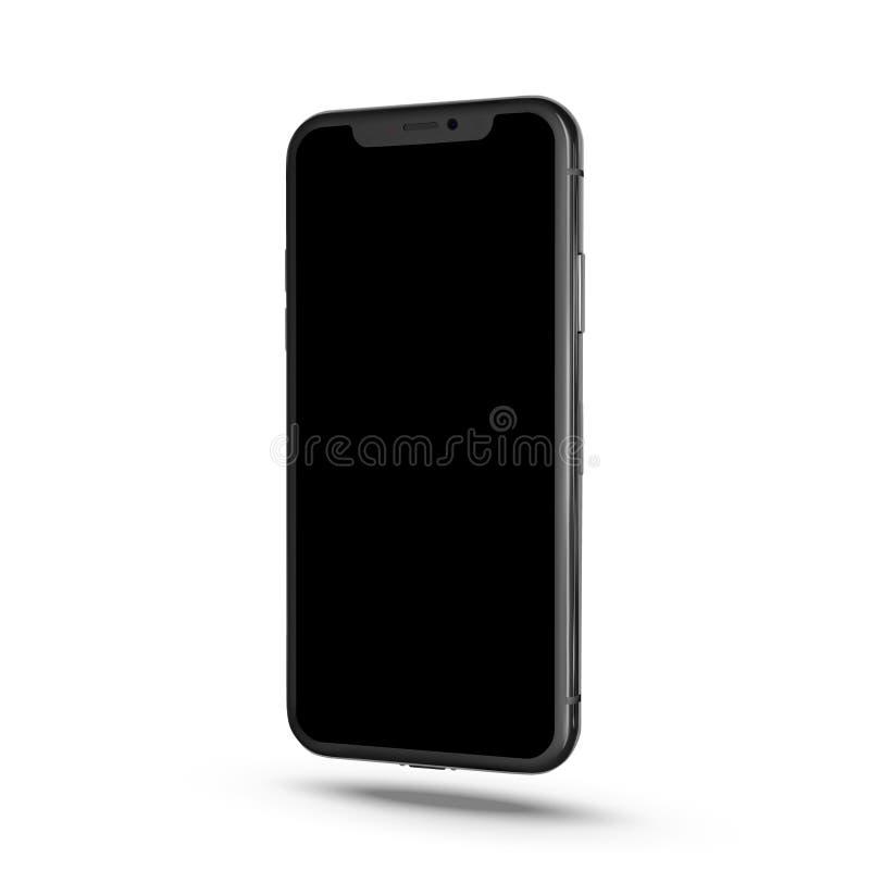 Smartphone simile a stile di iphone X isolato su fondo bianco Telefono cellulare con lo schermo attivabile al tatto Realistico mo illustrazione di stock