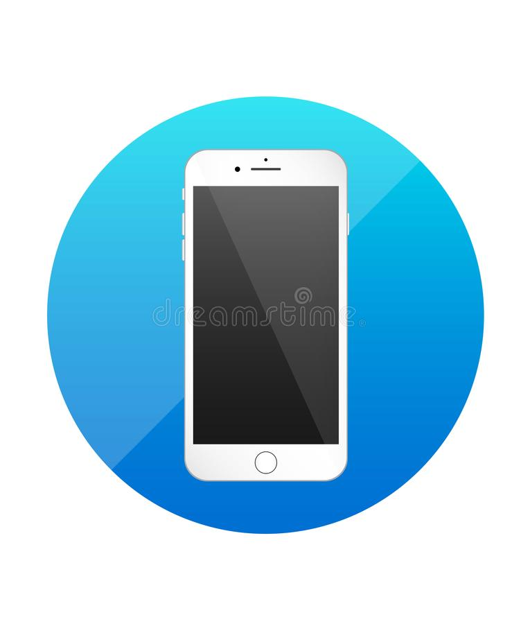 Smartphone single flat icon. Blue icon for application. stock illustration