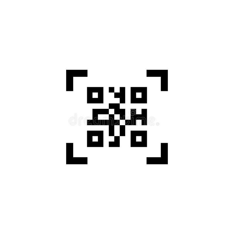Smartphone Skanuje QR kodu Płaską Wektorową ikonę royalty ilustracja
