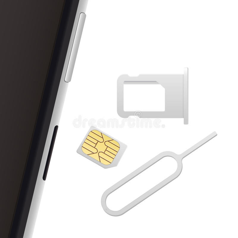 Smartphone, Small Nano Sim Card, Sim Card Tray and Eject Pin. Vector objects isolated on white. Realistic vector icons. Top view vector illustration