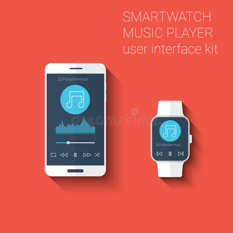 Smartphone and smartwatch music player user interface icons kit. Wearable technology concept in modern flat design. Eps10 vector illustration stock illustration