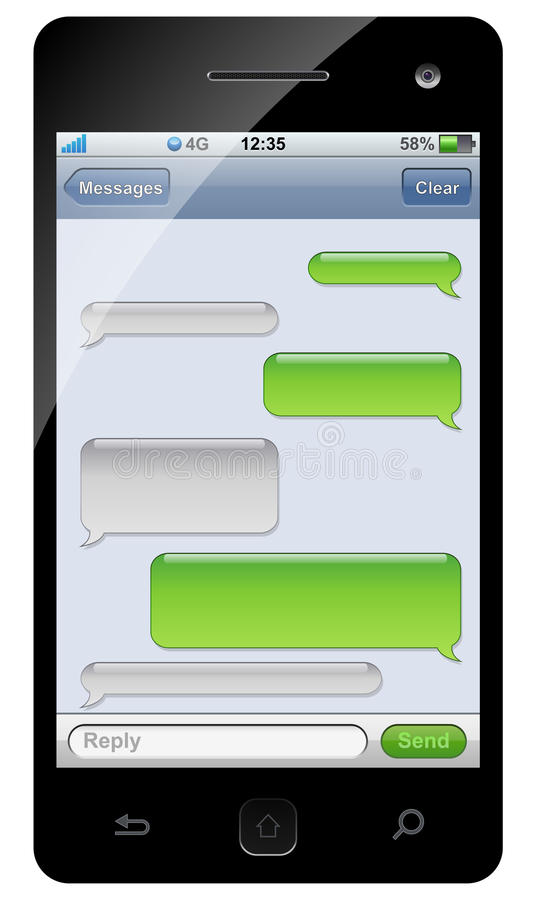 Smartphone sms chat template stock illustration