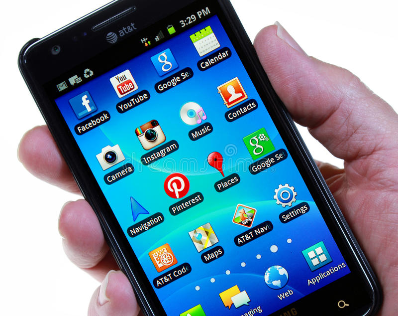 Download Smartphone With Social Network Icons (no Finger) Editorial Image - Image: 31615945