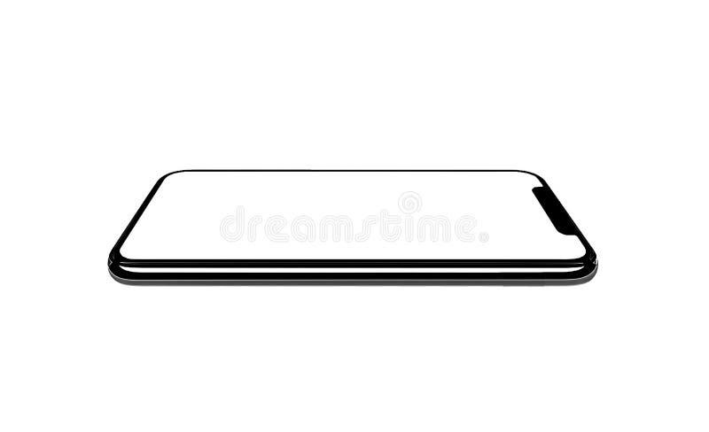 Smartphone som ?r liknande till iphonexs som ?r maximal med den tomma vita sk?rmen f?r investeringsplan f?r marknadsf?ring Infogr royaltyfria bilder