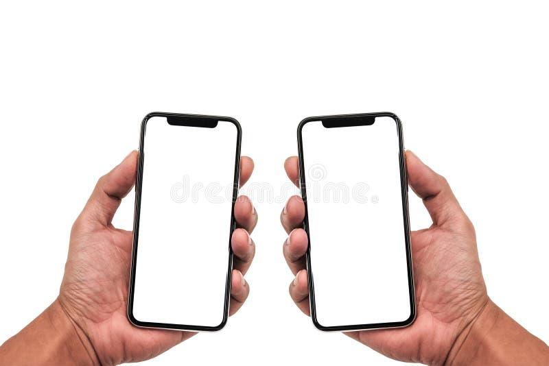 Smartphone som är liknande till iphonexs som är maximal med den tomma vita skärmen för planet för marknadsföring Infographic för  arkivbilder