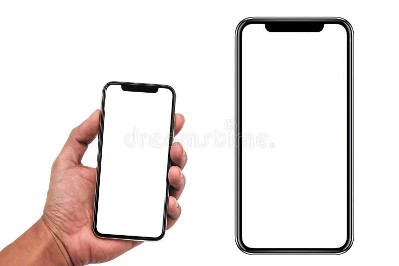 Smartphone som är liknande till iphonexs som är maximal med den tomma vita skärmen för planet för marknadsföring Infographic för  royaltyfri fotografi
