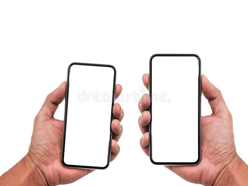 Smartphone som är liknande till iphonexs som är maximal med den tomma vita skärmen för planet för marknadsföring Infographic för  royaltyfria bilder