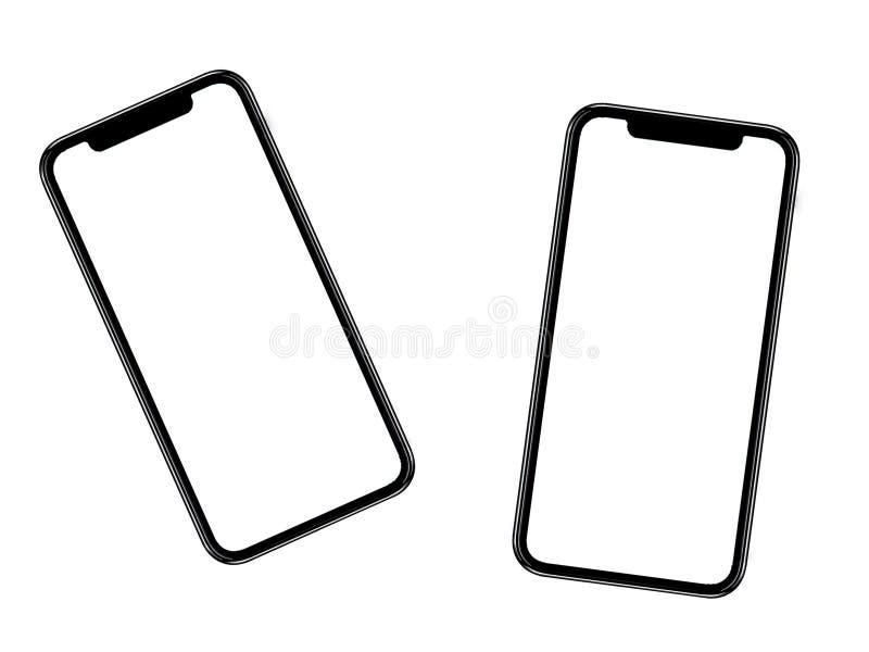Smartphone som är liknande till iphonexs som är maximal med den tomma vita skärmen för planet för marknadsföring Infographic för  arkivbild