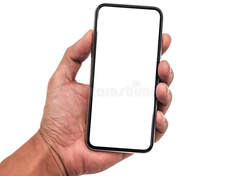 Smartphone som är liknande till iphonexs som är maximal med den tomma vita skärmen för planet för marknadsföring Infographic för  arkivfoton