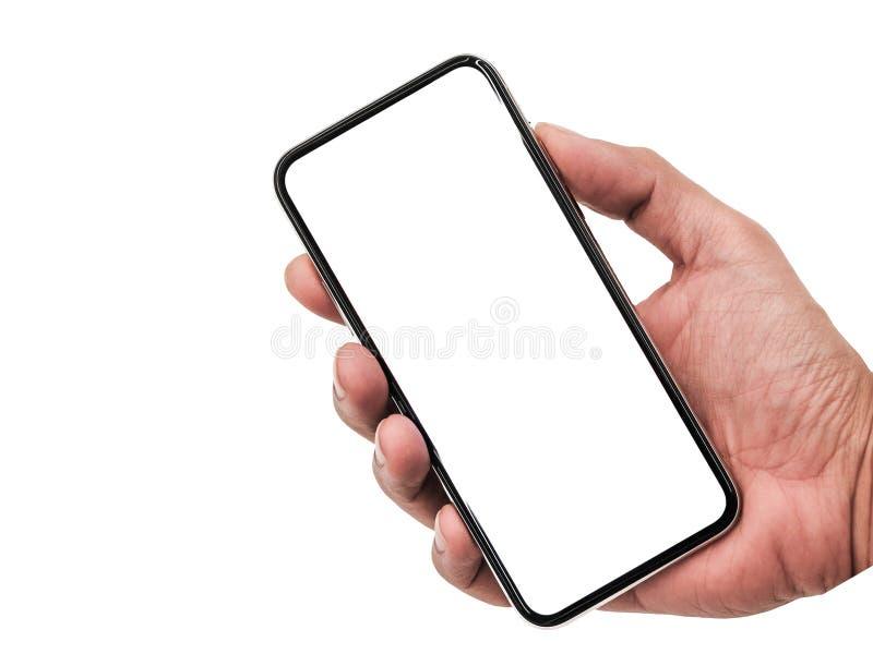 Smartphone som är liknande till iphonexs som är maximal med den tomma vita skärmen för planet för marknadsföring Infographic för  royaltyfri bild
